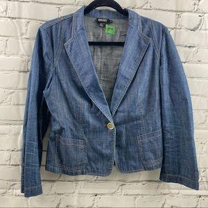 DKNY cropped cinched back jean jacket